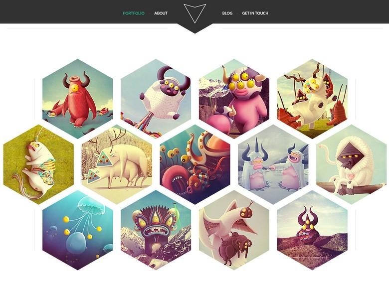 Free Hexagon Style Portfolio Website Template PSD TitanUI