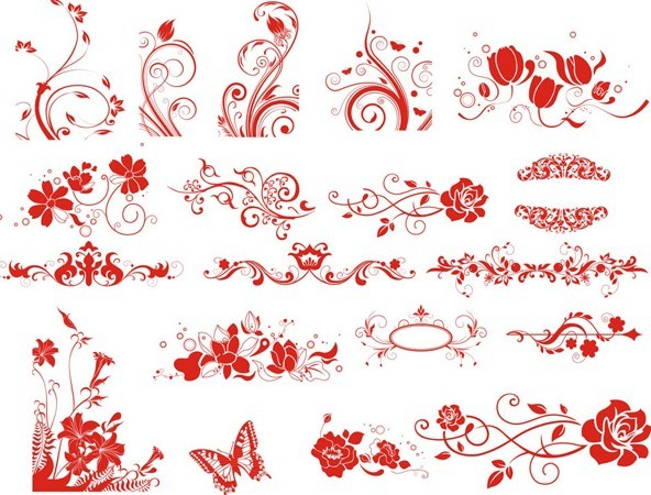 Set of Red Flower Decorative Patterns Vector
