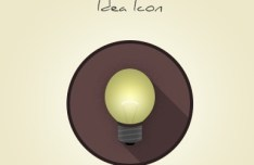 Flat Long Shadow Idea Bulb Icon PSD