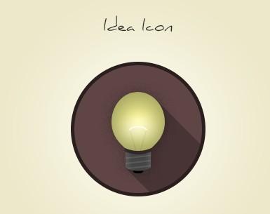Flat Long Shadow Idea Bulb Icon PSD