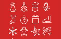 16 Christmas Line Icons Vector