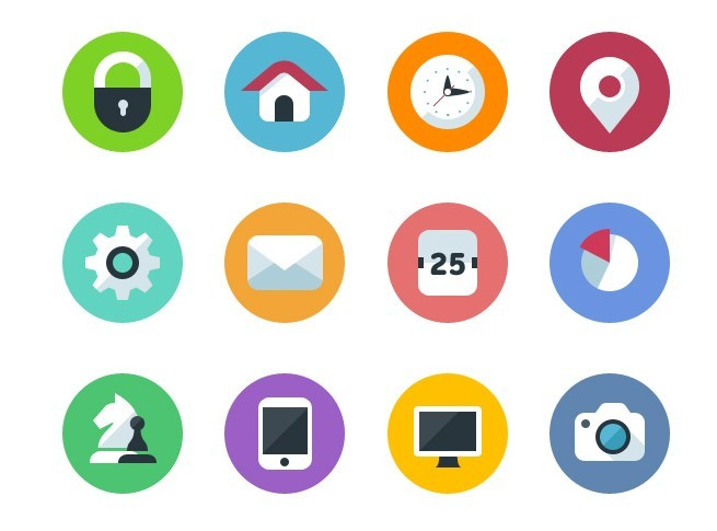 12 Round Flat Icons Vector PSD