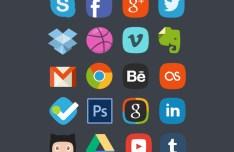 20 Social Media Flat Icons PSD