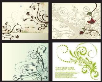 4 Vintage Floral & Vine Backgrounds Vector