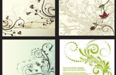 4 Vintage Floral & Vine Backgrounds Vector
