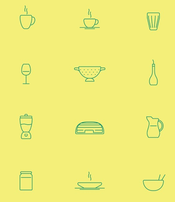 In The Kitchen Icon Set Vector