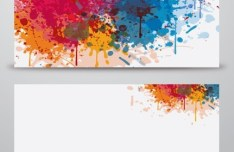 Set Of Vector Banners with Splash Paint Backgrounds