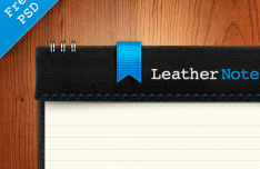 Black Leather Notebook Mockup PSD