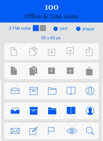 Flat Style & iOS 7 Line Style Icon Set Vector PSD
