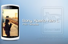 White Sony Xperia neo L Mockup Template PSD