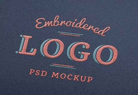 Embroidered Logo Mockup PSD