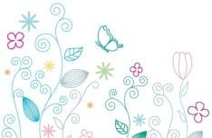 Fresh Clean Line Art Floral Design Vector 01