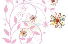 Fresh Clean Line Art Floral Design Vector 03
