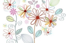 Fresh Clean Line Art Floral Design Vector 04