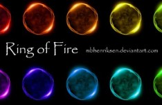 Set Of Colored Rings Of Fire PSD