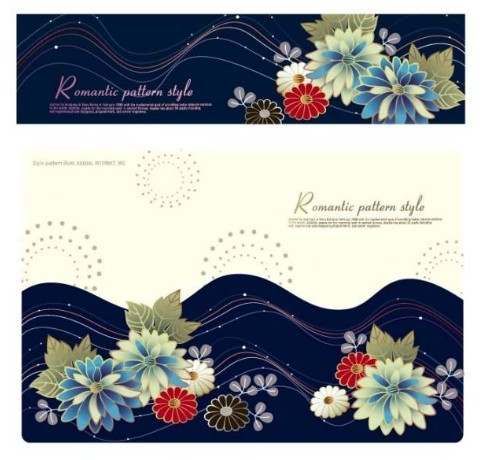 Set Of Retro Flower Backgrounds and Banners Vector