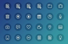 24 Simple Outline Icons PSD
