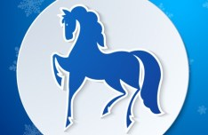 Christmas Ball With Blue Horse Vector