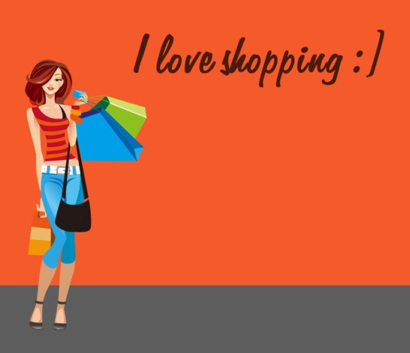 Shopping Girl I Love Shopping Vector Illustration