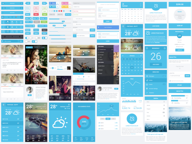 Flatastic Mobile UI Kit PSD