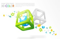 Colorful 3D Blocks Background Vector