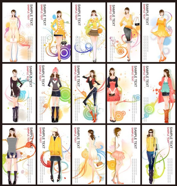 Set Of Fashion Girl Banners Vector
