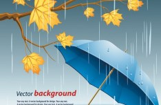 Yellow Leaves and Blue Umbrella In Rainy Day Vector