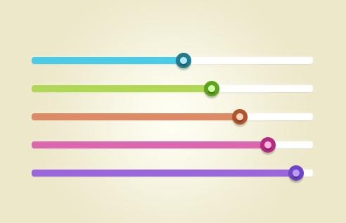 Colorful Flat Range Sliders PSD