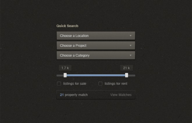 Quick Search UI Elements PSD