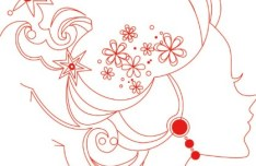 Red Girl Head Line Art Vector