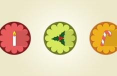 3 Flat Long Shadow Christmas Icons PSD