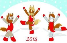 Cartoon Horse Cheerleading For Merry Christmas Vector 01