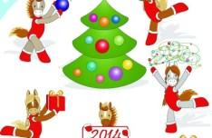 Cartoon Horse Cheerleading For Merry Christmas Vector 03