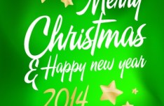 Green Merry Christmas & Happy New Year 2014 Background Vector 02