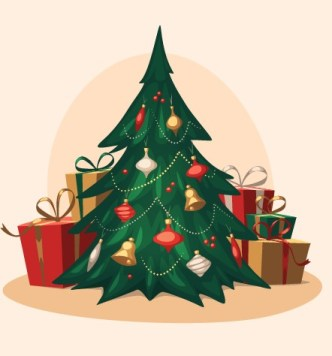 Vintage Christmas Tree with Gifts Vector