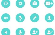 12 Flat Round Icons PSD