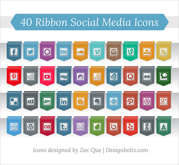 40 Ribbon Style Social Media Icons