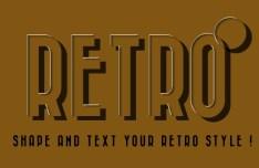 Retro Shadow Text Style PSD