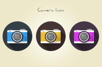 3 Flat Long Shadow Camera Icons PSD
