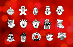 Flat Line Christmas Icons Vector