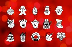 Flat Line Christmas Icons Vector