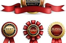 Elegant Gold Badges with Ribbons Vector