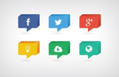 3D Speech Bubble Style Social Media Icons PSD