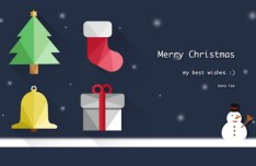 Flat Long Shadow Christmas Icons PSD