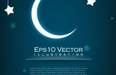 Night Moon and Stars Illustration Vector 04