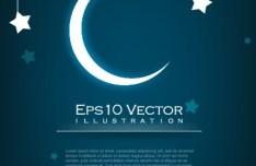 Night Moon and Stars Illustration Vector 04