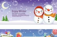 Set Of Cartoon Merry Christmas Header Designs
