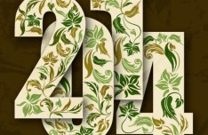 Green Floral 2014 Text Style Vector