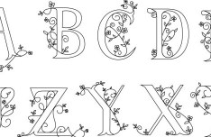 Simple Floral Alphabets Design Vector