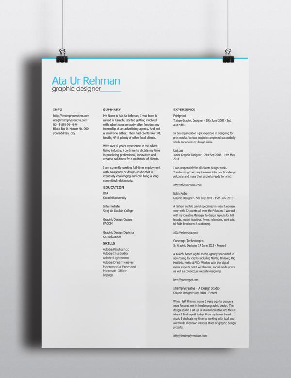 Free Minimalistic Resume Template PSD TitanUI